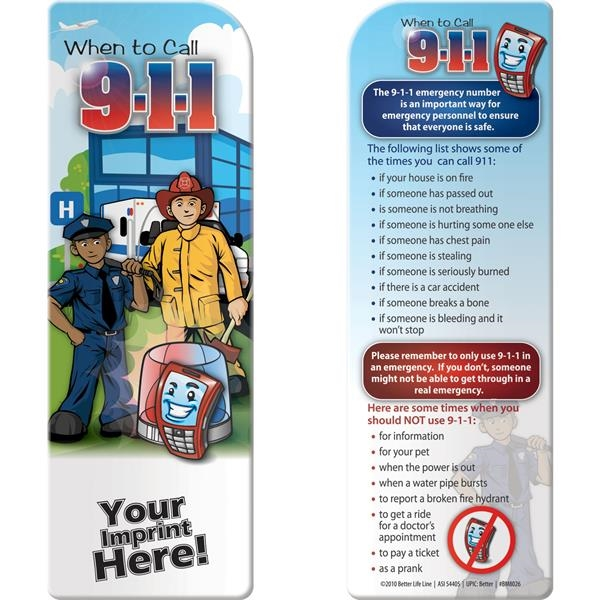 Printed Bookmark - When to Call 9-1-1