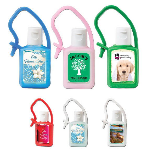 Personalized 1/2 oz. Hand Sanitizing Gel Flip-Top Bottle & Silicone Strap