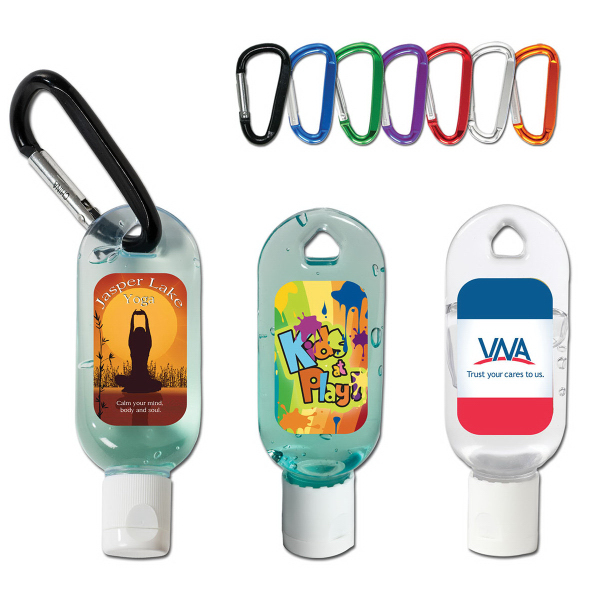 Imprinted 1 oz. Hand Sanitizing Gel Flip-Top Bottle with Carabiner