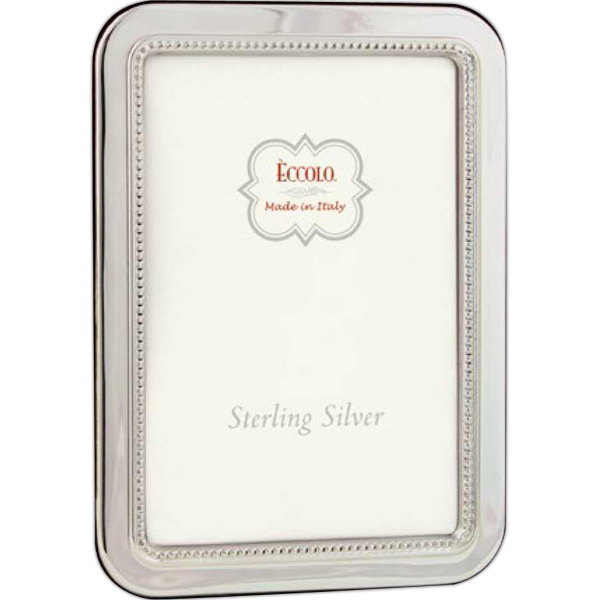 Personalized Sterling Collection Beaded Round Edge Frame