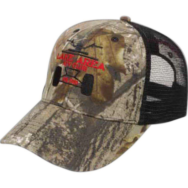 Printed Medium Profile Camo Cap with Trucker Mesh