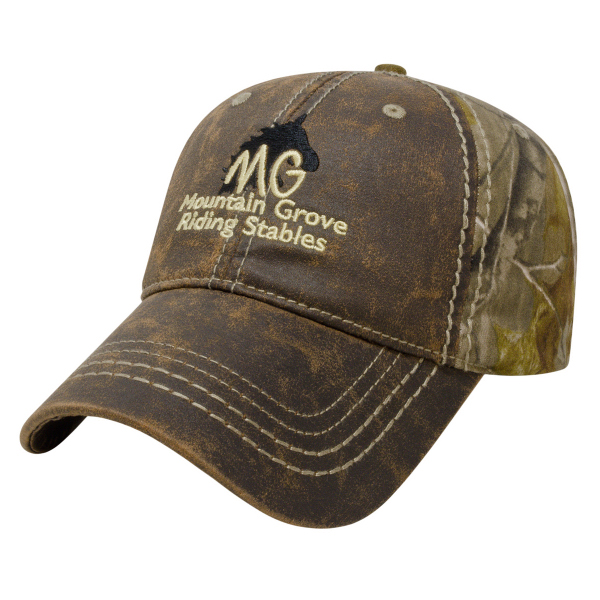 Personalized Faux Leathered Poly/Cotton Camo Cap