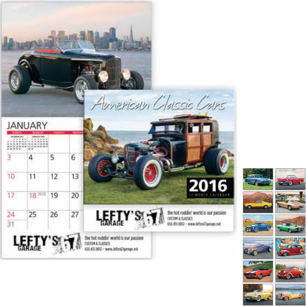 Personalized American Classic Cars Wall Calendar