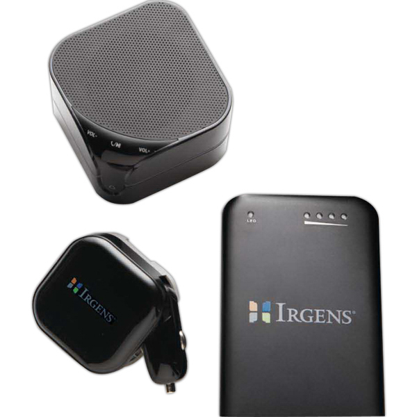 Personalized Bluetooth speaker with Power bank and AC/DC Adapter Gift Set