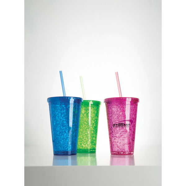 Customized 16oz Double Wall Gel Plastic Cup with Straw