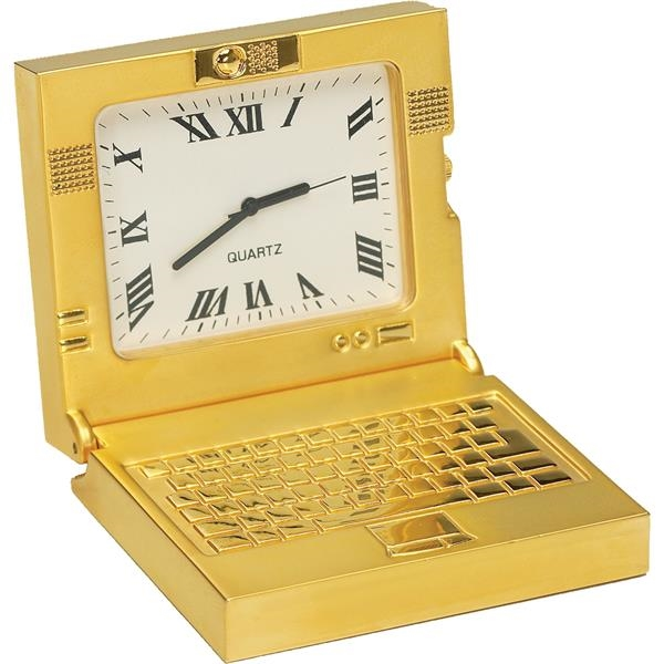 Printed Gold Die Cast Laptop Clock