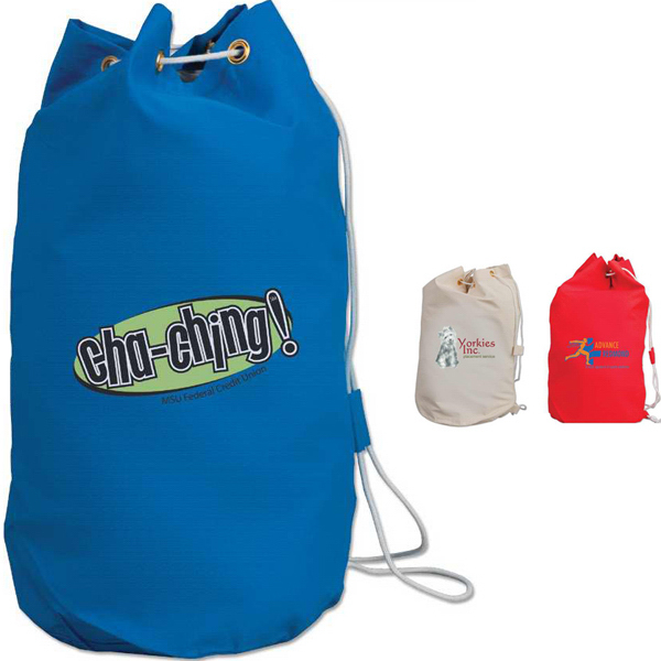 Imprinted Drawstring Cotton Barrel Bag