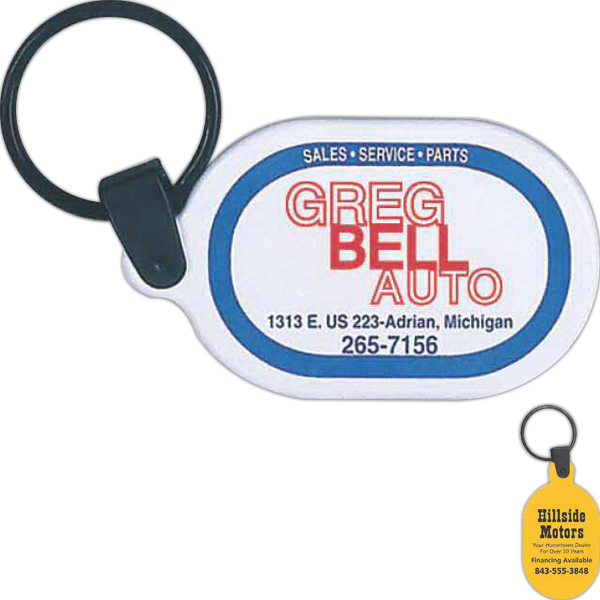 Customized Dura Sof oval key tag