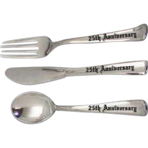 Custom Faux Silver Spoon Fork & Knife Set
