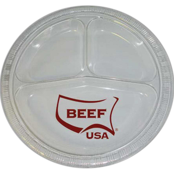 "Custom 10"" 3 Compartment Round Plastic Disposable/Reusable Plate"