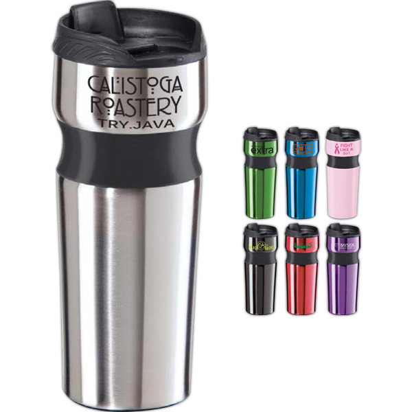 Imprinted Contour Stainless Steel Travel Mug