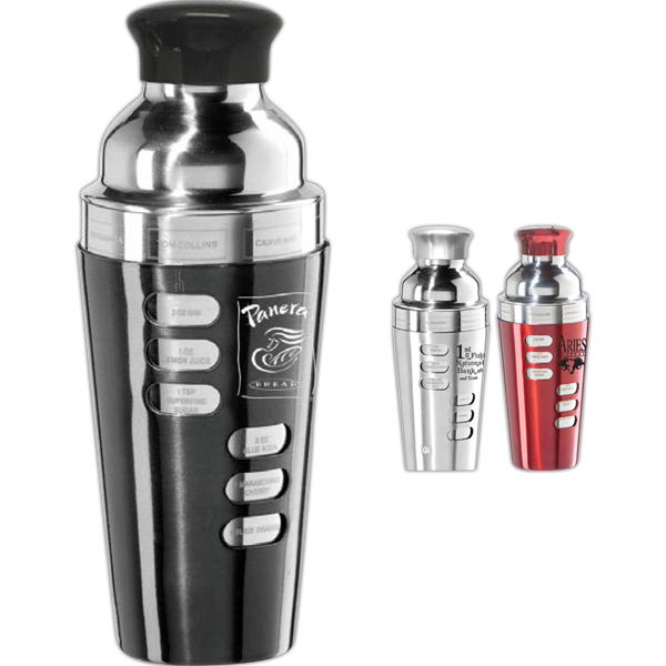 Printed Recipe Stainless Steel 26 oz. Drink Shaker