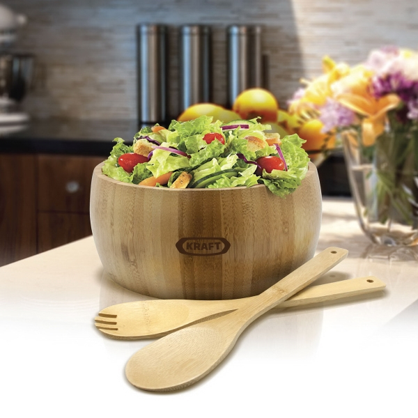Printed Gourmet Bamboo 3-Piece Salad Bowl Set