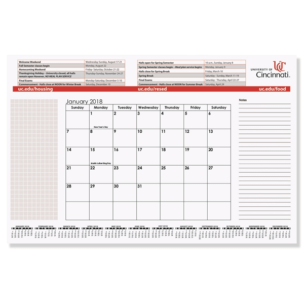 Printed Small Calendar Desk Pad