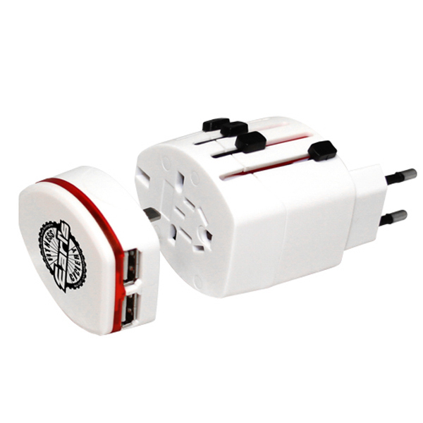 Custom World Travel Adaprter Plug with Dual USB Port Charger