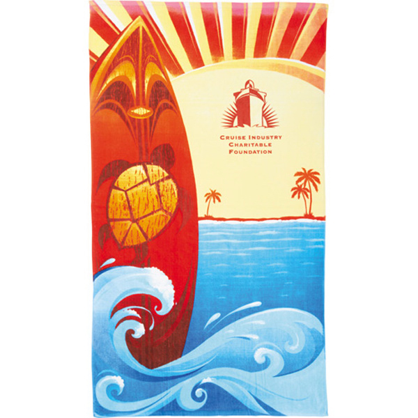 Imprinted 14 lb. Beach Scene Beach Towel