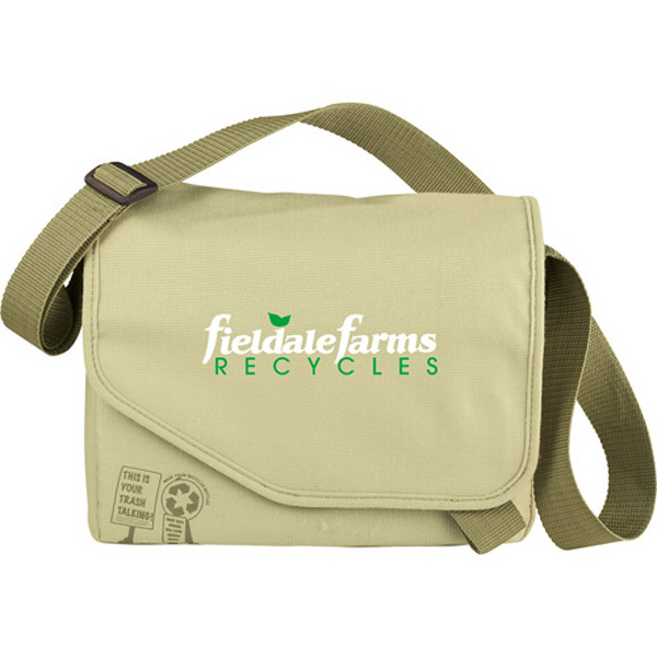 Printed Trash Talking Recycled Tablet Messenger Bag