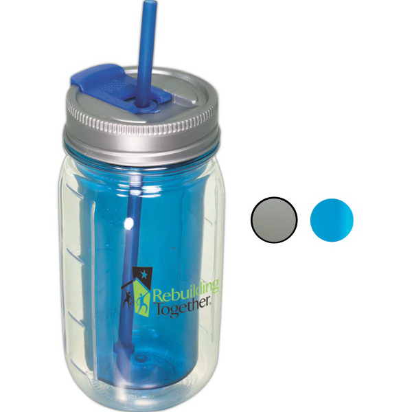 Custom Cool Gear (TM) Mason Jar Water Bottle