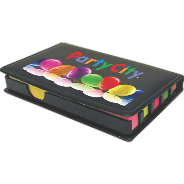 Promotional Stickler compact leatherette box with sticky notes