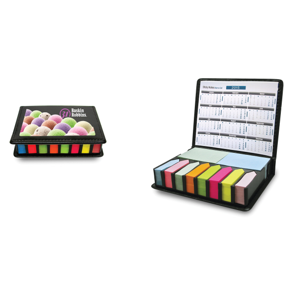 Imprinted Sticky Box with colored sticky notes