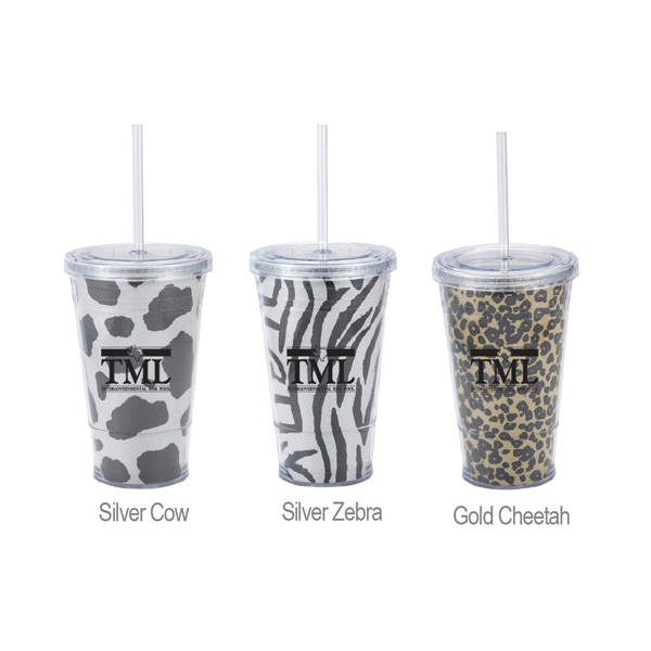 Personalized 16 oz. Glitter Slurpy Tumbler with straw