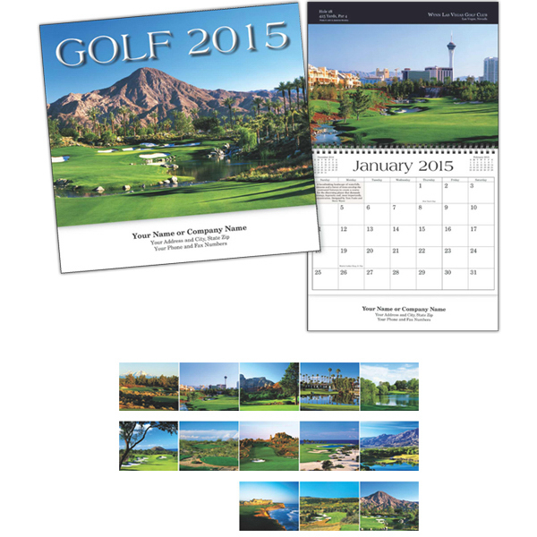 Personalized Kingswood Collection Golf Spiral Bound Wall Calendar