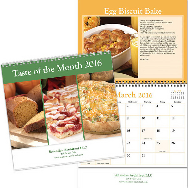 Custom Kingswood Collection Taste of the Month Wall Calendar