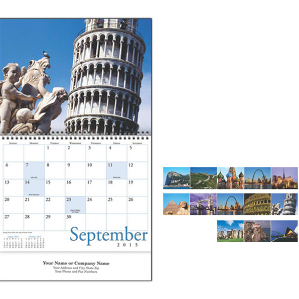 Custom Kingswood Collection Wonders of the World Wall Calendar
