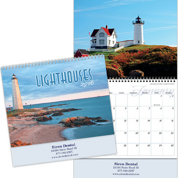 Imprinted Kingswood Collection Lighthouses Wall Calendar
