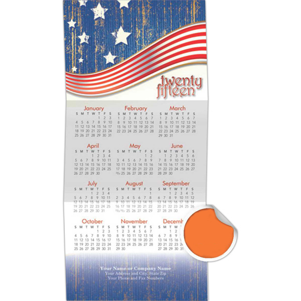 Customized Z-Fold Patriotic Stars and Stripes Calendar