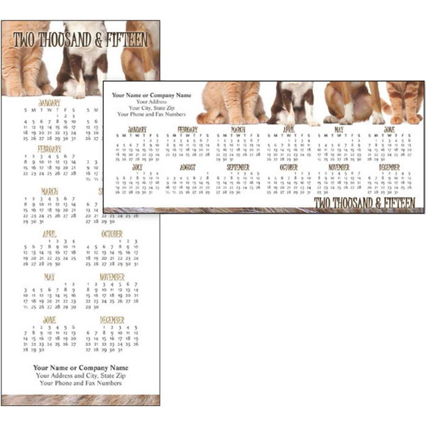 Personalized Economy Collection Cats and Dogs Horizontal Calendar Card