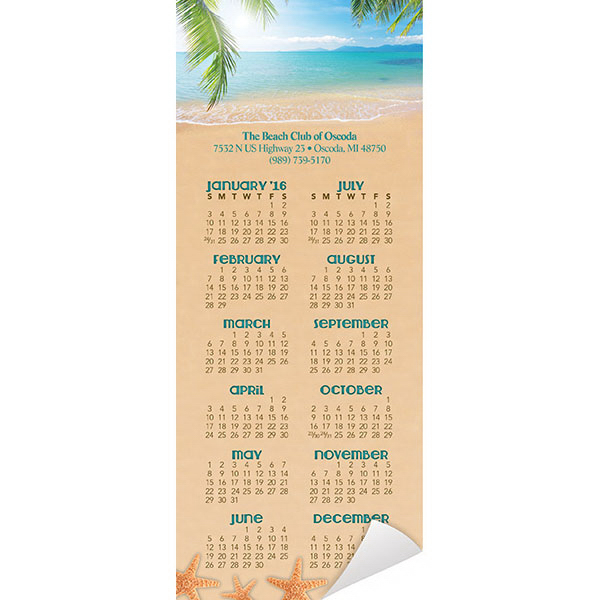 Printed Economy Collection Beach Magnetic Calendar