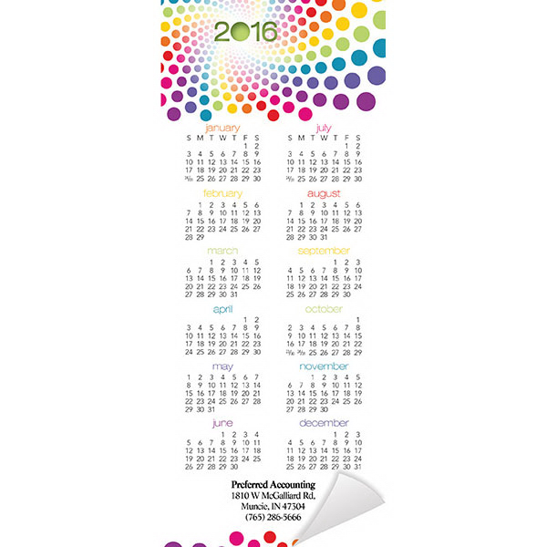 Promotional Economy Collection Magnetic Rainbow Calendar
