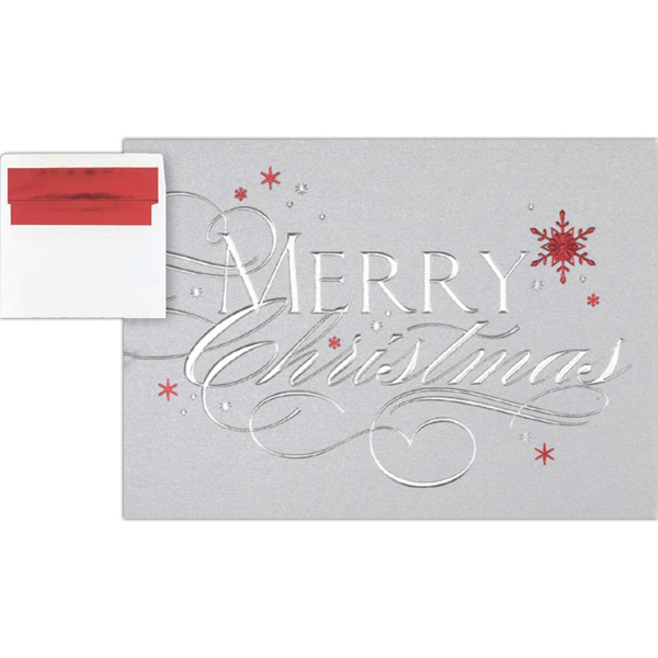 Custom Merry christmas Red Snowflakes Greeting Card