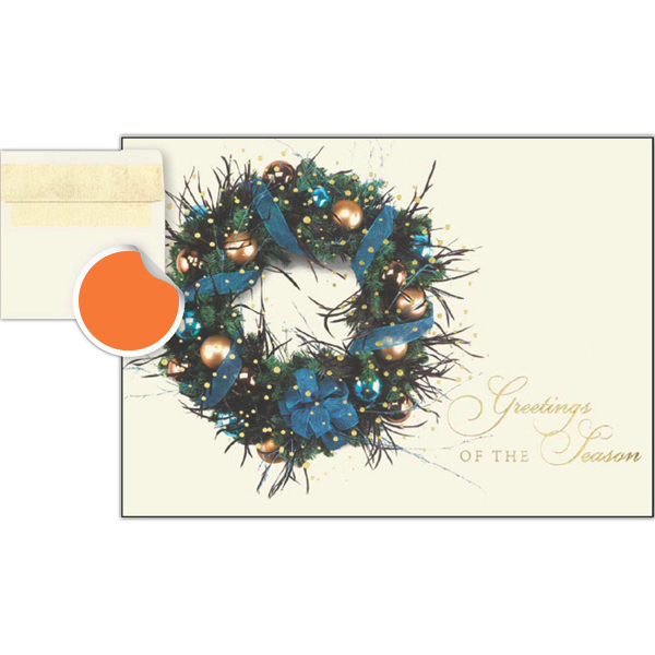 Printed Seasonal Blue & Gold Wreath Greetings Card