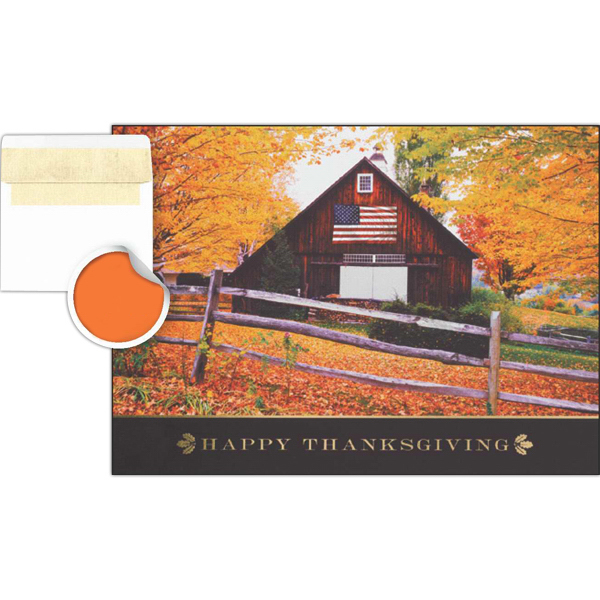 Printed Red Barn Greeting Card