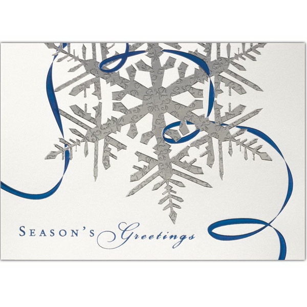 Printed Silver Snowflake & Blue Ribbon Greeting Card