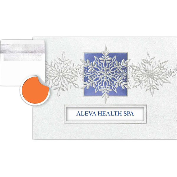 Imprinted Trio of Snowflakes Greeting Card