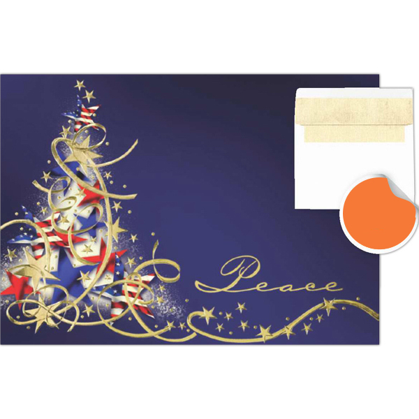 Personalized Stars & Stripes Peace Tree Greetings Card