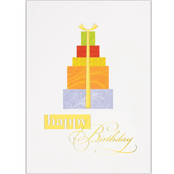 Personalized Birthday Gift Stack Greeting Card