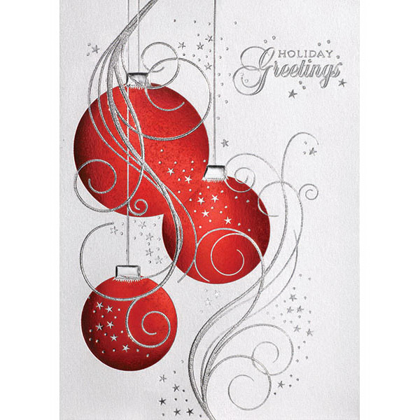 Custom Three Red Ornaments Greeting Card