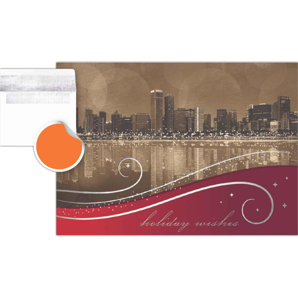 Customized City Reflection Greeting Card