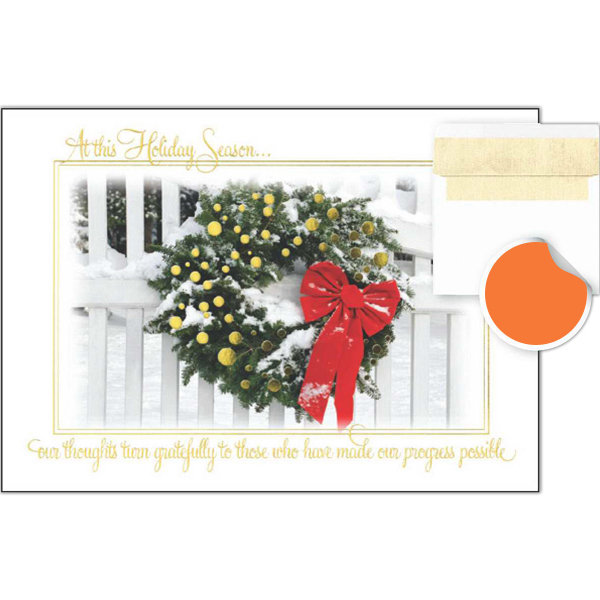 Personalized At This Season Wreath Greetings Card