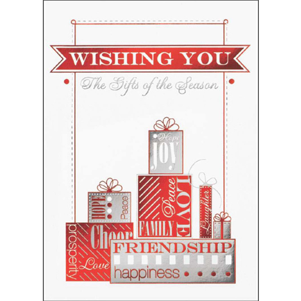 Custom Joyful Gifts of the Season Greeting Card