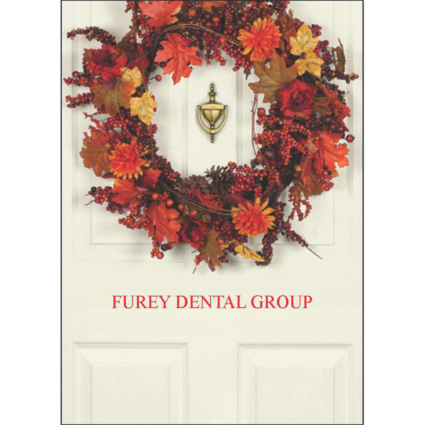 Printed Autumn Welcome Wreath Greeting Card