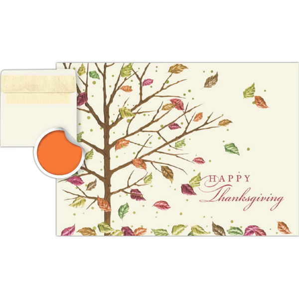 Imprinted Falling Leaves Greeting Card