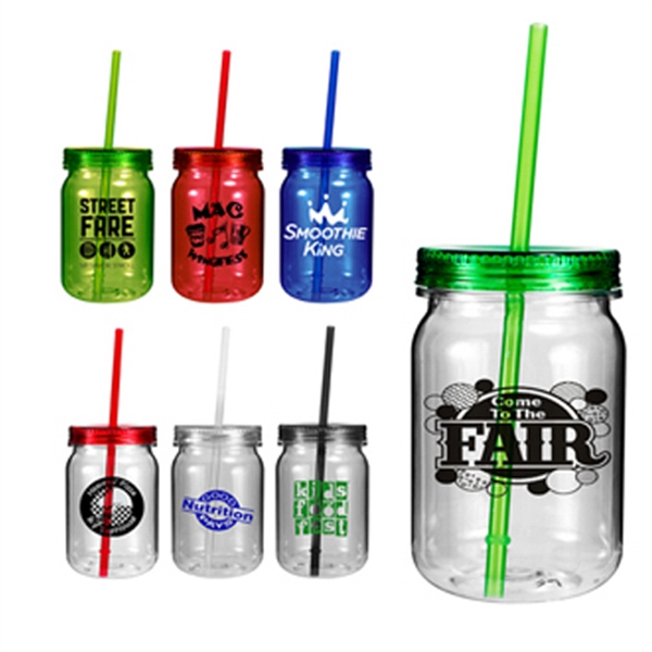 Custom 24 oz Plastic Mason Jar