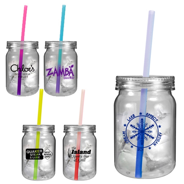 Custom 24 oz Plastic Mason Jar with Mood Straw
