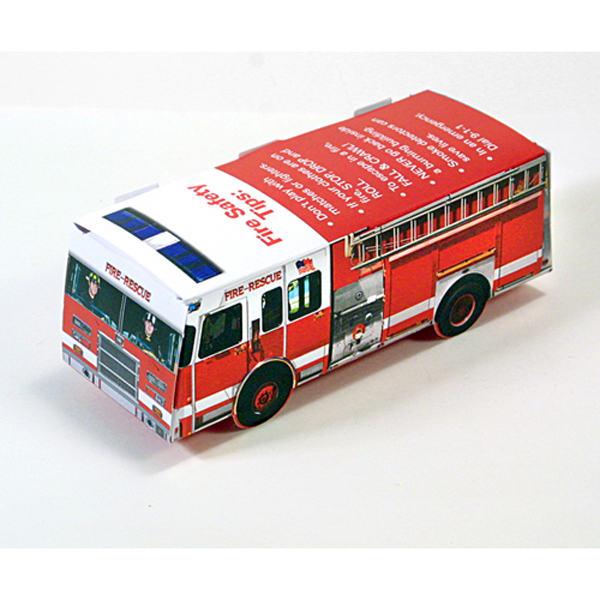 Custom Foldable Die-Cut Fire Truck, Full Color Digital