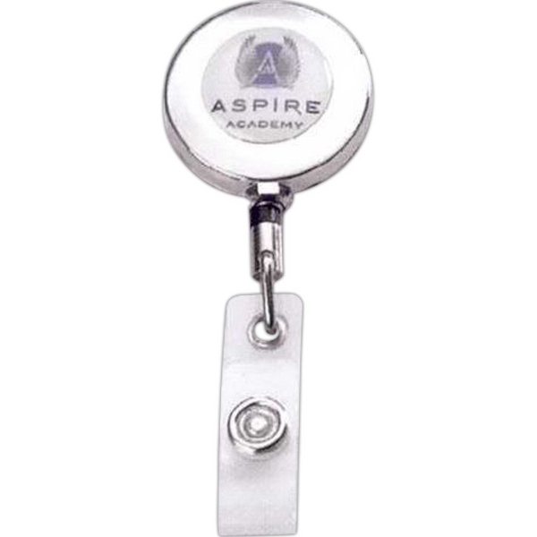 Printed Metal retractable badge reel with belt clip